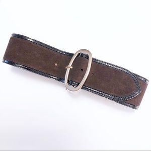 Banana Brown Leather Belt, XS